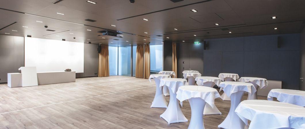 В конференц-зале плиты ПроАкустик использованы в качестве потолочных элементов