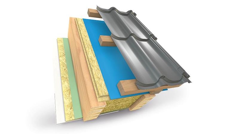 Provětravaná teplá střešní konstrukce s bitumenovym hydroizolačnim pláštěm