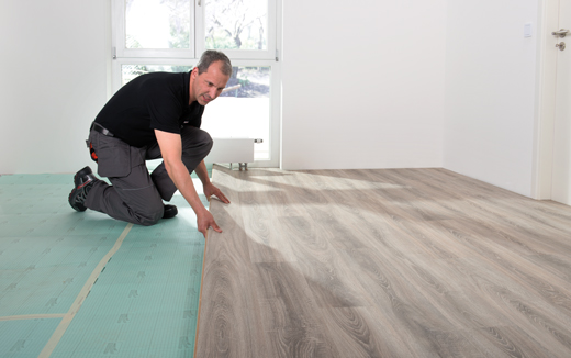 Installing flooring as a floating installation with the JUST clic! flooring click system