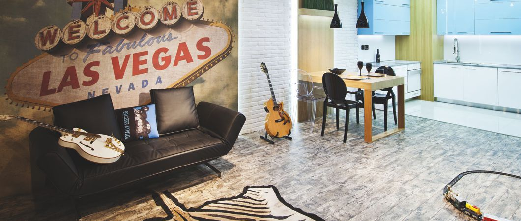 Room design gives personality: Cosmopolitan and love of music.