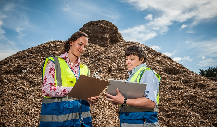 Left to right: Hana Bajerova and Helen Sinton, Operations Manager Timberpak England, check everything is in order