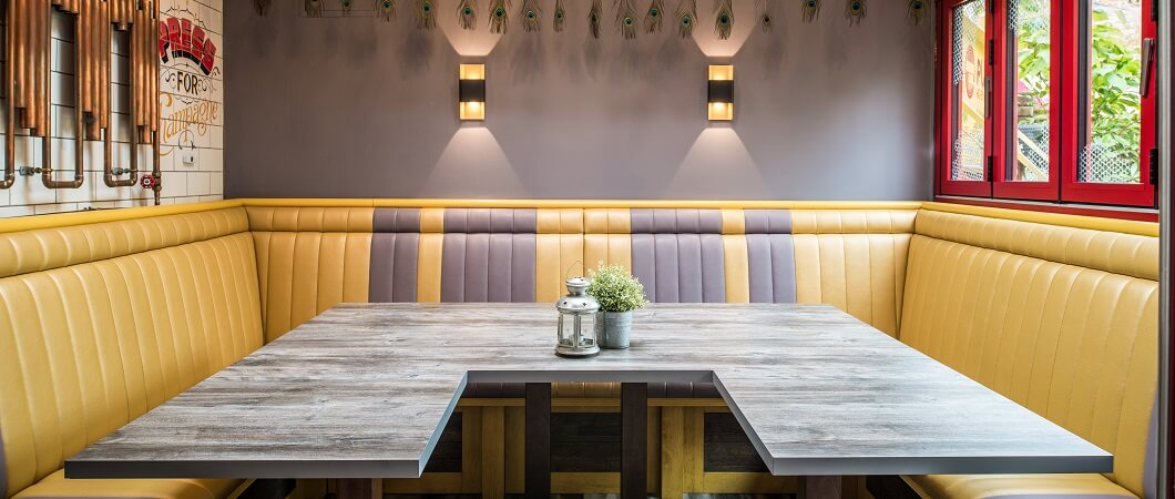 The EGGER decor appears on the tables in the main restaurant