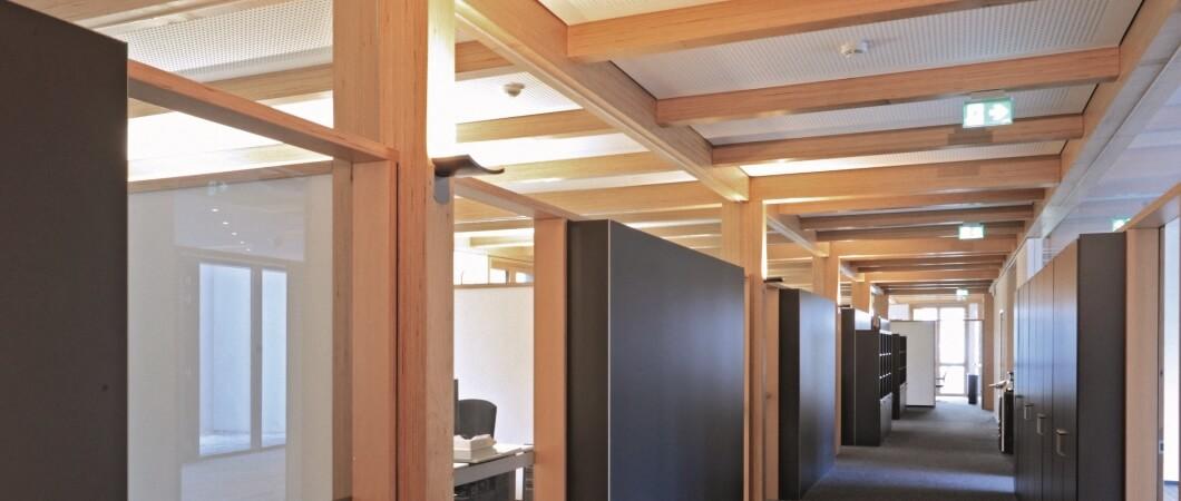 В новом деревянном здании площадью 1200 м2 размещаются 60 сотрудников.