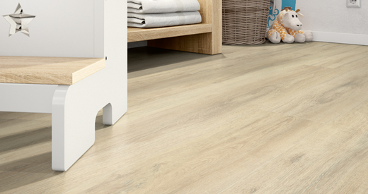 The Omnipore surface gives the flooring a linear wood look.