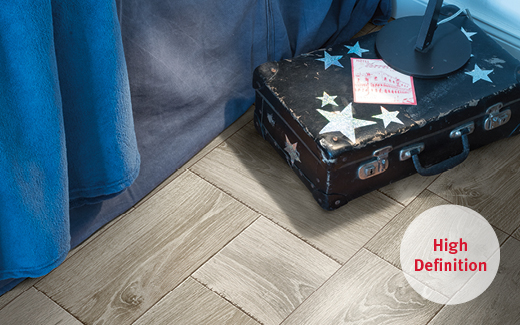 Comfort flooring with high resolution decor appearance for a great flooring colour