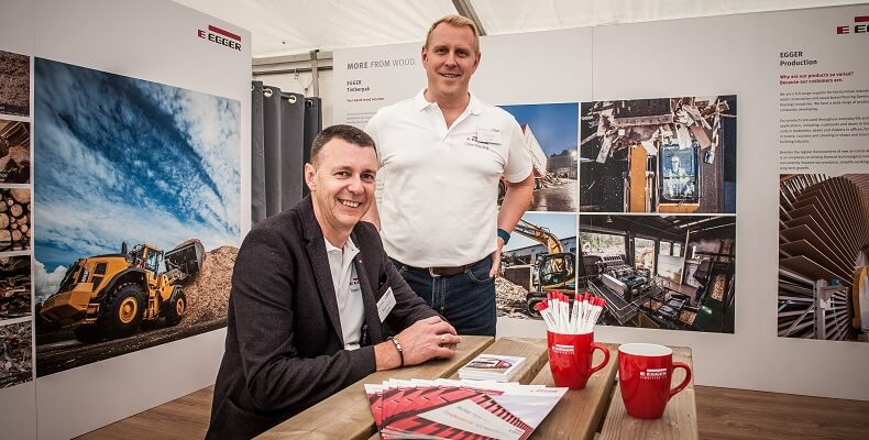 Mark Hayton, director of Timberpak Ltd (left) and Gavin Ball, customer relationship manager at Timberpak Ltd (right) were on hand to talk about recycled materials and how important they are for EGGER.