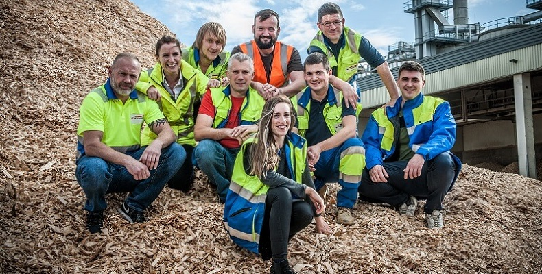 Nine of the ten-strong Three Peaks team at the EGGER Hexham site. Left to right: Kev Dowden, Nicola Thompson, Bob Ellison, Ian Hope Nicky Graham, Katie Porteous, Graeme Pearson, Malcolm Teasdale and Dan McPherson (Darren Fairless not shown)