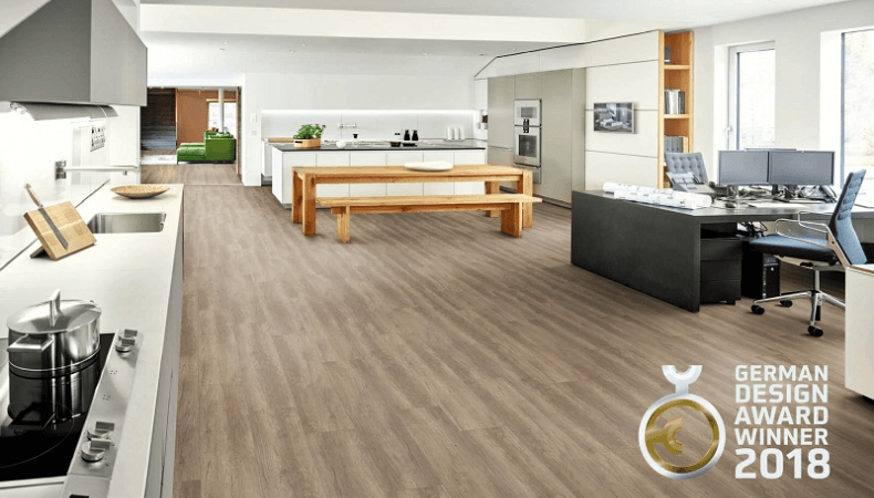"""The wood decor Oak handscraped is best described as """"powerful yet graceful"""". The brown-grey colour scheme highlights the modern appearance of oak."""