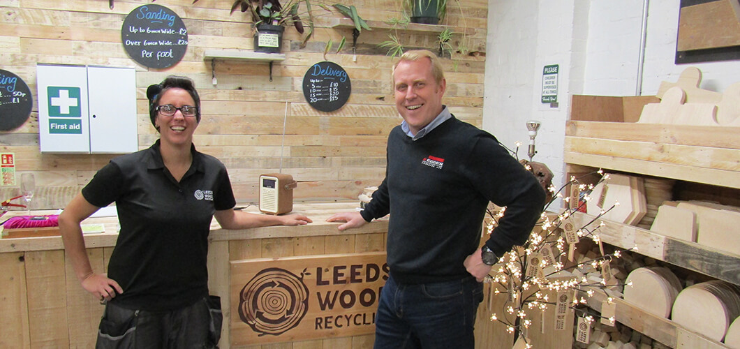 Leeds Wood Recycling official opening. Charlotte Stanley and Gavin Ball