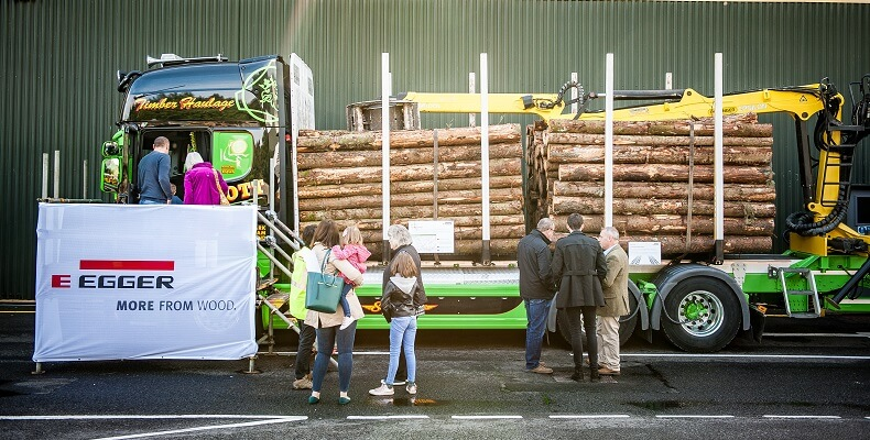Visitors getting a close look at a Timber Haulage truck