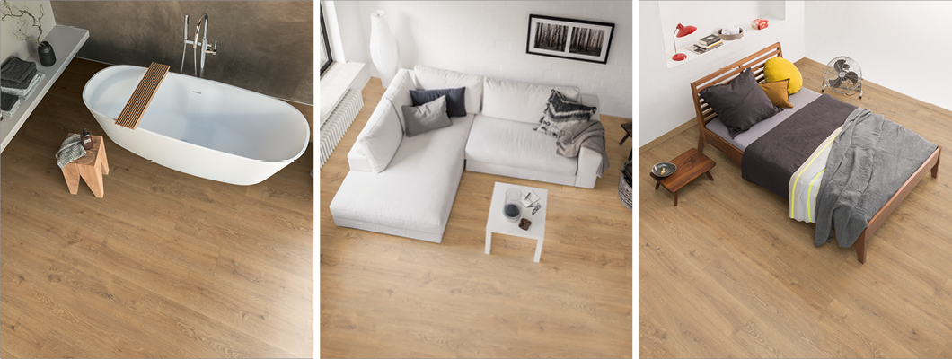 Flooring in one design but with different types of flooring