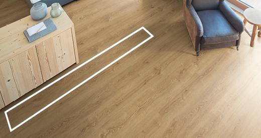 Hosszított padlódeszkák, tágas és nyitott helyiségekhez
