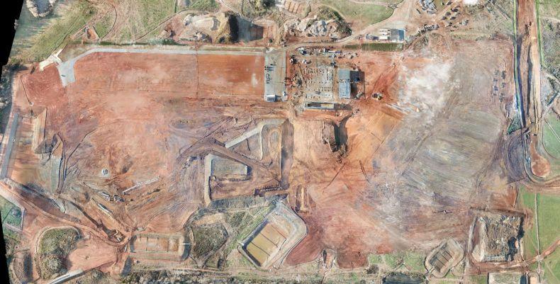 Вид на территорию будущего завода в Лексингтоне, штат Северная Каролина, с высоты птичьего полета