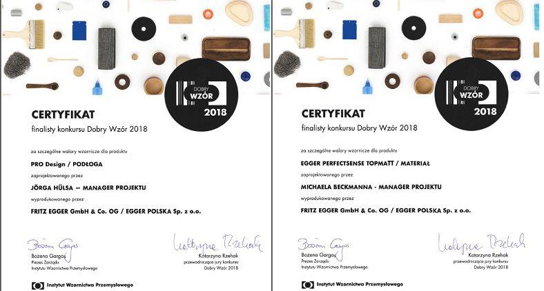 Certyfikat Dobry Wzór 2018: PerfectSense TopMatt i Podłoga Design