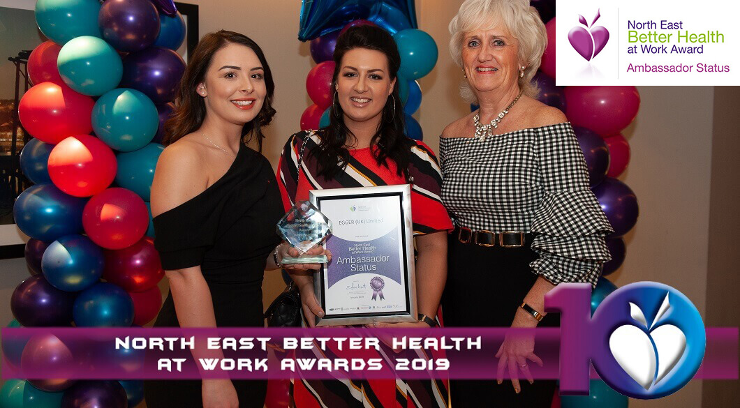Three of EGGER's health ambassadors. Left to right: Amy Carling, Carys Laidler and Alison Bird.