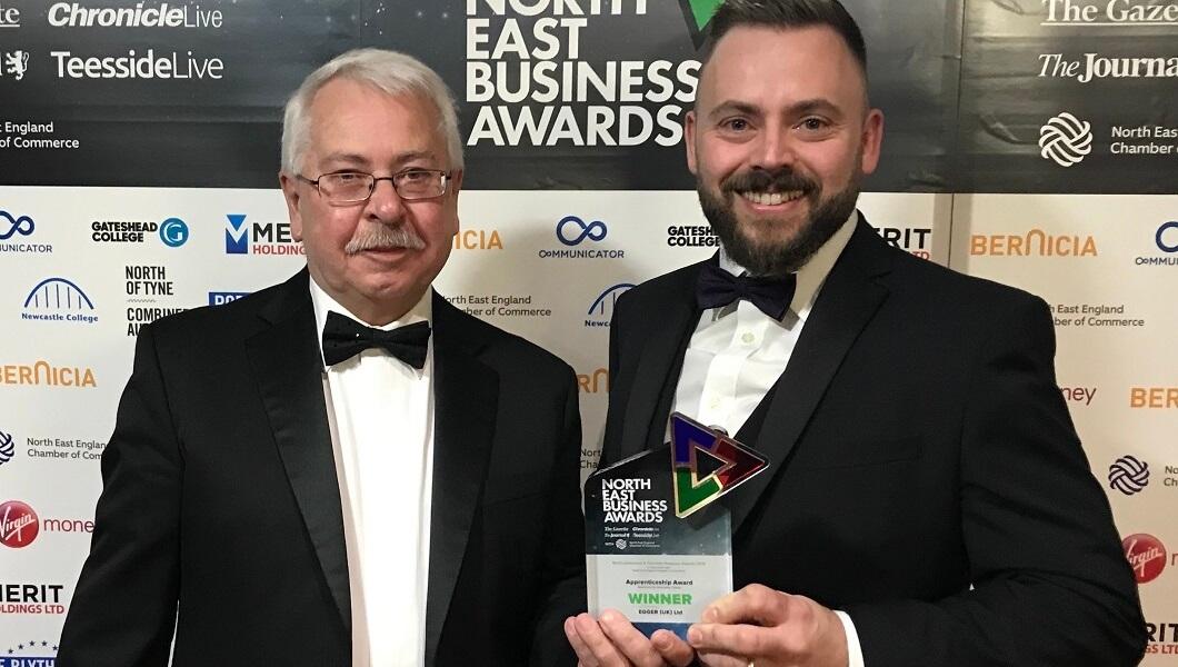 N E Business Awards Arthur Harvey and Marc McPake from Newcastle College.jpg