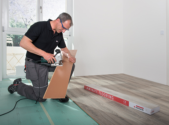 Quite simply, you can't lay a floor without any tools; but the tools you need are ones any competent DIY-er should have at home.