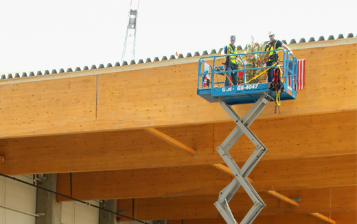 """Gray's Site Manager Kendall Kluttz and EGGER's Construction Project Manager Christian Kasper use a lift to place a tree on the topmost beam of EGGER's new particleboard plant, part of an Austrian building tradition called """"topping off."""""""