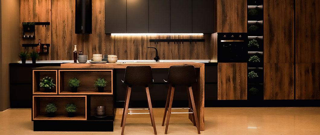 Design interiéru celé kuchyně se podařilo vytvořit pouze z výrobků EGGER
