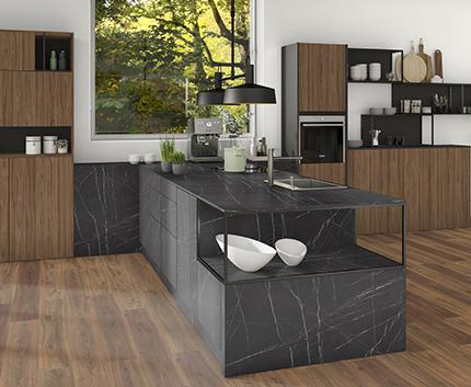 Návrh kuchyně F206 PT Pietra Grigia černá