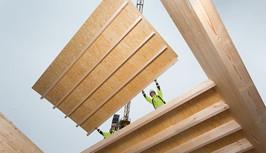 Visible timber beam ceiling with OSB 4 TOP
