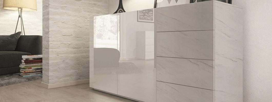 F812 White Levanto Marble Cabinet