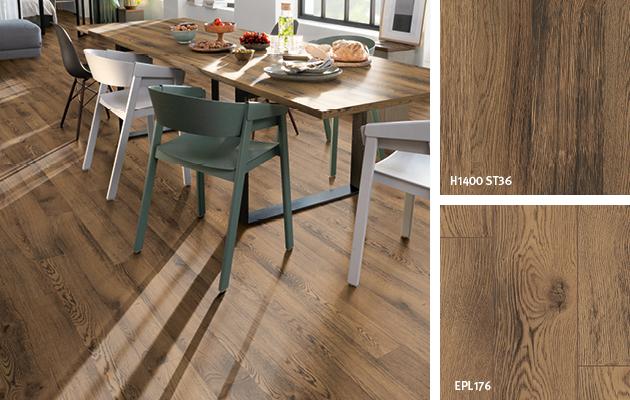 Décors coordonnés de la salle à manger: Bois de grange. Plateau de table: Panneau revêtu de stratifié | Revêtement de sol : Sol Stratifié