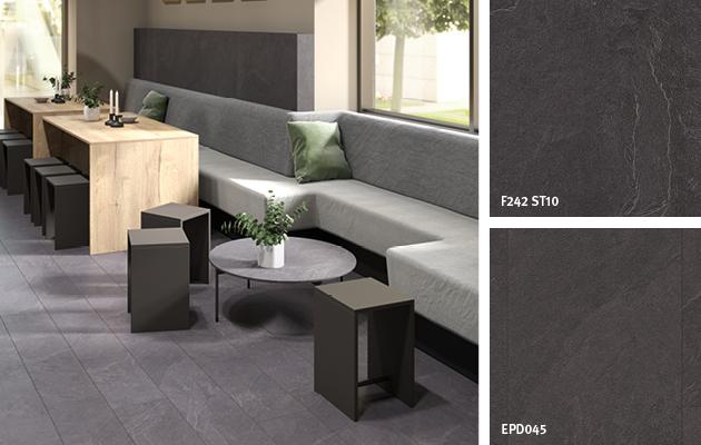 Decor Match restaurant: Anthracite Jura Slate. Bistro table: Laminate | Rear wall: Eurodekor chipboard | Flooring: Design Flooring GreenTec