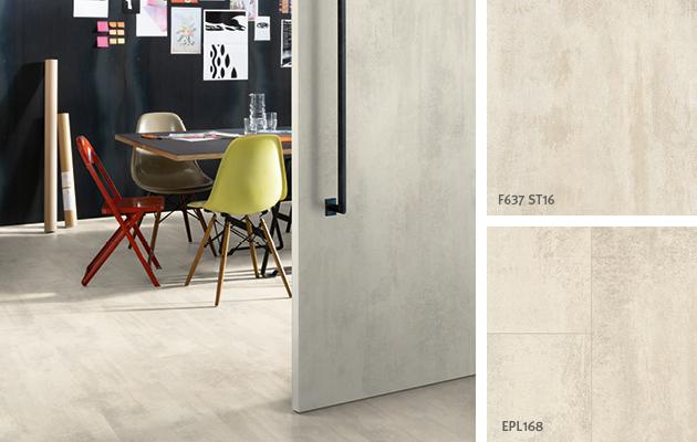 Décors coordonnés de la pièce bureau de la maison: Chêne sauvage naturel. Porte: Stratifié format porte | Revêtement de sol : Sol Stratifié