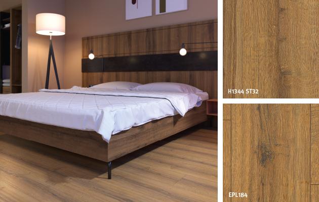 Decor Match bedroom: Cognac Brown Sherman Oak. Bed rear wall: Eurodekor MDF | Bed base: Eurodekor chipboard | Flooring: Laminate Flooring Aqua+