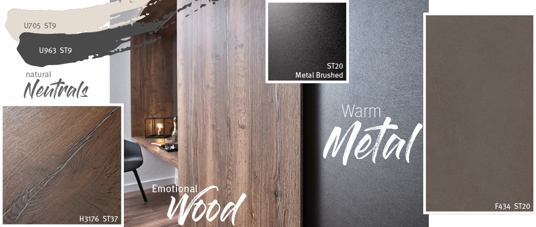 Lemn expresiv & Metal călduros & Culori neutre naturale